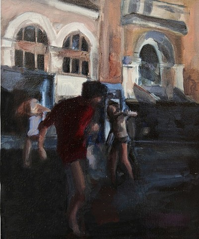 Painting created by Michelle Hyland of boy dancing at Laneway Festival