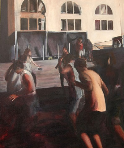 This painting is by Michelle Hyland of people dancing at the Laneway Festival