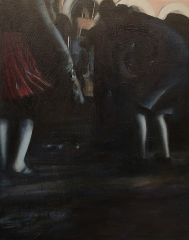Painting by artist Michelle Hyland of people dancing