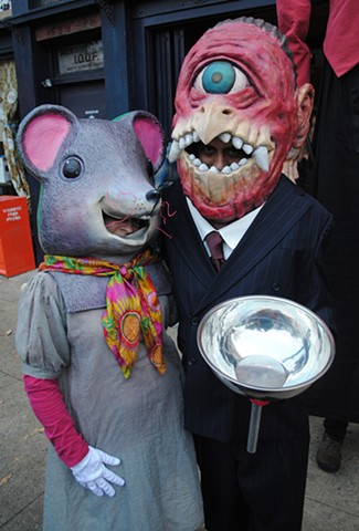 Jessica Brown (left) as Frog Mouse and Ed Miller (right) as Cyclops Bird