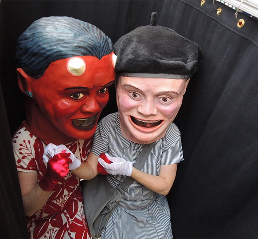 Megan Marlatt as The Artist and Amy Marlatt as The Devil in a photo booth