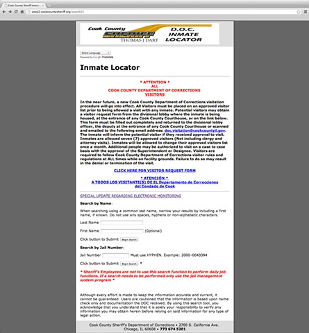 Cook County Jail's Inmate Locator webpage