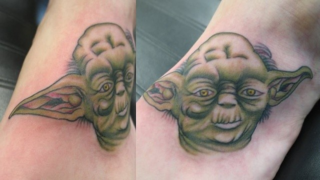 Yoda tattoo Scottish Rose Tattoo 6524 University Ave NE, Fridley, MN 55432 Peter McLeod