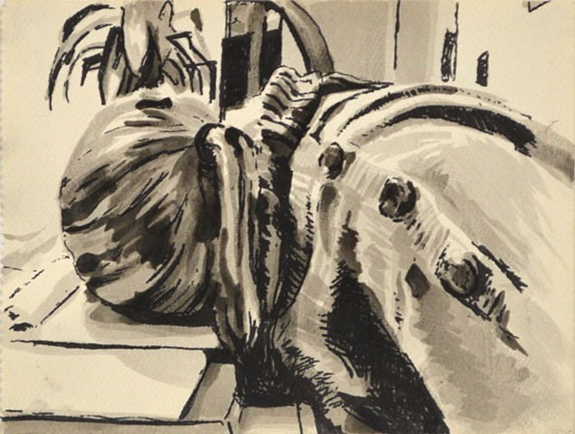 "Conked Out. 11.75"" x 9"". Ink and Sharpie. February 2013 by Catherine Cole. Ink wash, ink, sleep, sleeping, conked out, head down, sweater, buttons, pony tail, ponytail, plant,"