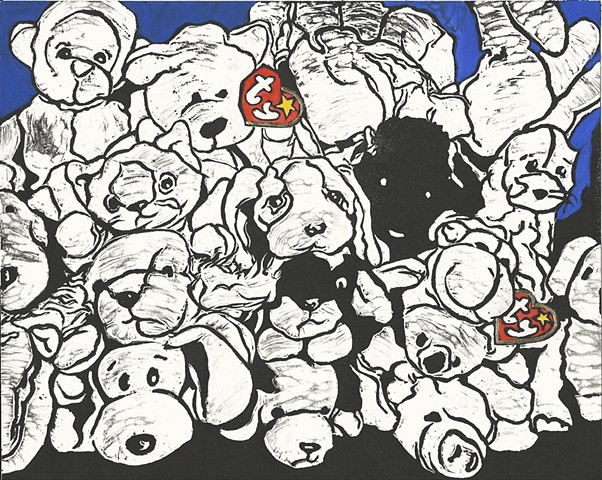 """Partial Collection of Beanie Babies"" 8"" x 10"" Linocut Print Gold Leaf Hand Coloring Hand painted 2016 still life stuffed animals by Catherine Cole artist"