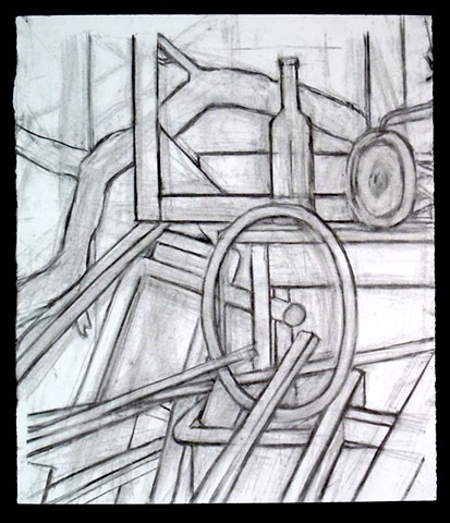 "Still Life of Junk. 20 x 23.5"". Charcoal. February 2011."