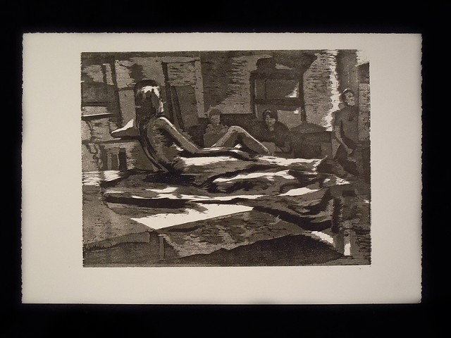 "Reclining. 12 x 16"". Reductive Woodcut. Relief Print. 2010."