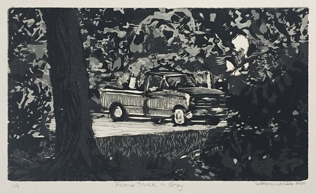 Pick-Up Truck in Grey Reductive Woodcut 2016 1/9 EV Edition Variation Variable