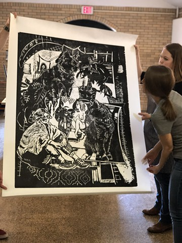 Big Ink Print Woodcut Relief Printmaking Black and White Farrago: Females, Felines. cats. Patterns. Money Trees. King George III.