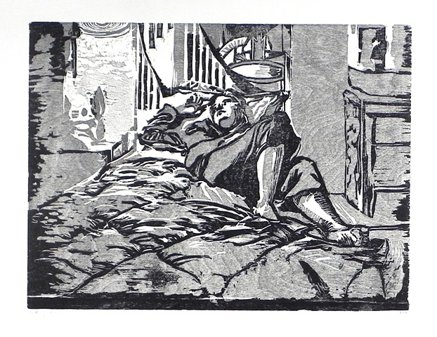 "Morning Routine: Self Portrait. 22.25 x 15"". Reductive Woodcut. Relief Print. 2009."