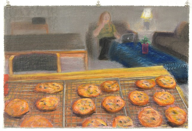 "Fresh Baked, Right Out of the Oven. 35.5"" x 23.25"". Pastel. May 2013. Chocolate Chip Cookies. Interior. Baking Cooling Rack. Self Portrait."