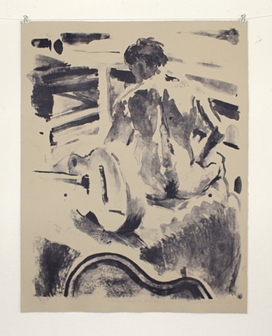 "Justin with Guitar from Behind. 26 ¾"" x 21"". Lithograph on Somerset Paper. 2013. by Catherine Cole. Print, printmaking, litho, lithographic, nude, nude male, guitar, guitar case, sitting, back, back hair, tusche, tusche wash, ink, ink wash, RISD, Rhode Is"