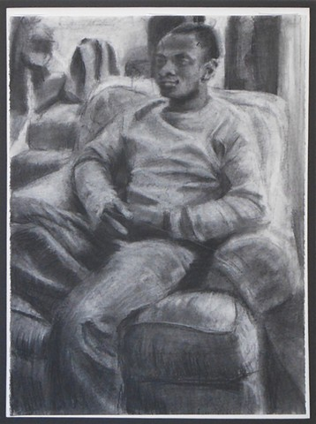 "Charles. 22"" x 30"". Charcoal. 2012. Boyfriend. Ex-boyfriend. Friend. Drawing by Catherine Cole, portrait, figure, model, modeling, pose, posed, chair, clasped hands, man sitting, black man, african american man,"