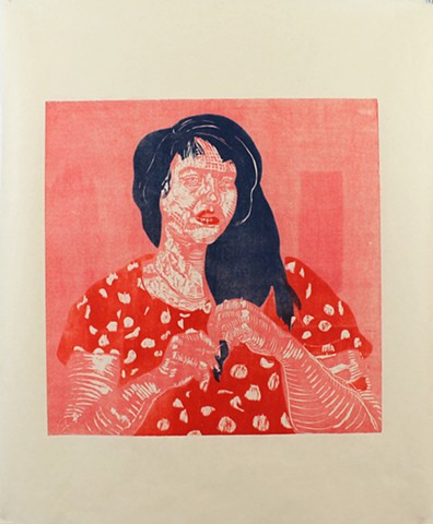 """Ivy"" 23 ¾"" x 23 ¾ on  38 ¼"" 31.5"" Okawara paper Woodcut Print 2013 portrait reductive woodcut stencil by Catherine Cole artist"