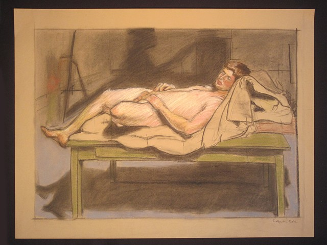 "Joshua Lying. 24 x 18"". Charcoal and Pastel. March 2010."