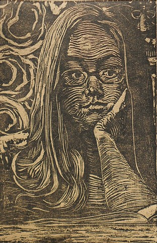 Self Portrait: Dreamy. Woodcut. Reeves BFK Tan. 2012. by Catherine Cole. mark, mark making, Groucho Marx, groucho marx glasses, nose, hand, arm, hair, swirls, glasses, book,