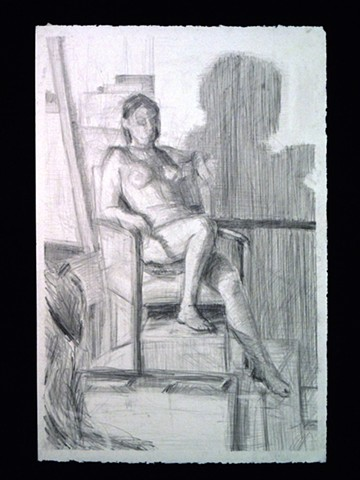 "Katie Sitting. 10.5 x 21.5"". Pencil. Graphite. February 2011."