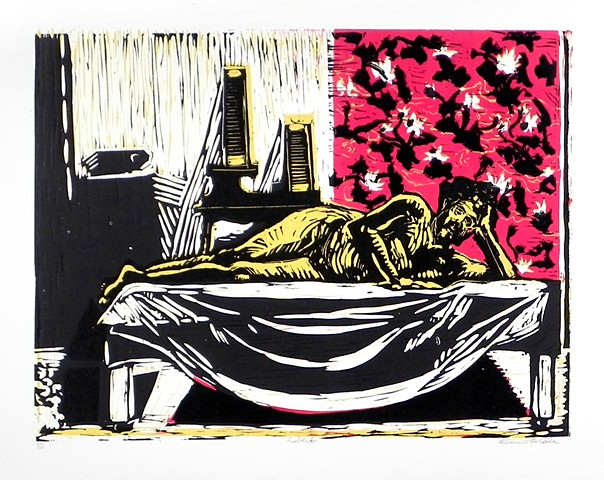 "Robert in Red, Black, and Yellow. 16 x 12"". 16x12"". Reductive Linocut. Relief Print. October 2010."