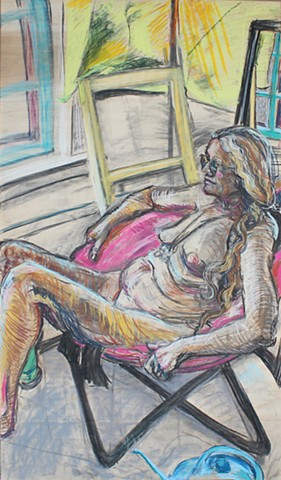 "Shelia. Pastel and Charcoal on Plywood. 27"" x 48"". November 2013. by Catherine Cole. Nude figure, nude model, nude female, woman, glasses, wavy hair, windows, pink chair, watering can, yellow cloth, reclining, sitting, RISD, Rhode Island School of Design,"