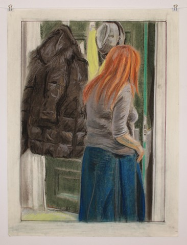 "Face to Face. 15 x 21"" on 18 x 24"". Pastel and Colored Pencil. December 2013. Red-Head Red Headed Figure Opening Green Door. Winter Coat. Fedora. Yellow Sweater. Catherine Cole"