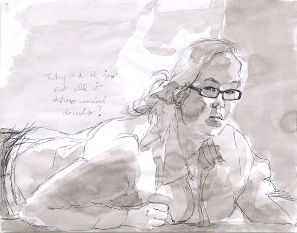 "Why Did I Just Eat All of Those Mini Donuts? Mini Donuts. 14 x 11.5"". Pen and Ink. November 2012. by Catherine Cole. ink wash, female, woman, glasses, on the floor, on the ground, questions, fat, self control,"
