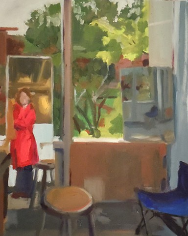 "Self Portrait with Red Raincoat. 16 x 19.5"". Oil on Gessoed Paper Primed Paper. Fall 2010."