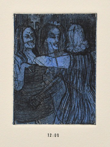 Girls Night Out Suite. 12. 12pm. Midnight. Etching and Aquatint. December 2012