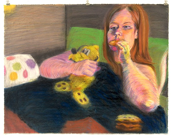 "Cookies in Bed. 35.75"" x 28"". Pastel. May 2013. Chocolate Chip Cookies. Pluto."
