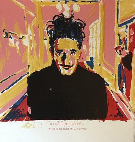 """Adrien Brody as Dmitri Desgoffe und Taxis"" 2015 12"" x 12"" screenprint and woodcut serigraph serigraphy xylography relief print Wes Anderson Grand Budapest Hotel Catherine Cole artists"