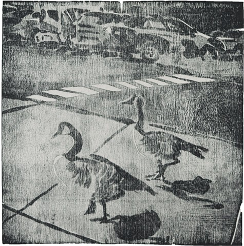 Oh Geese by Catherine Cole mokulito wood lithograph woodcut artist printmaking parking lot