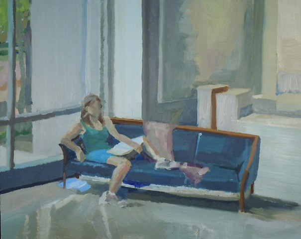 "Girl Reading on Teal Couch. 16 x 20"". Oil on Masonite. Fall 2010."