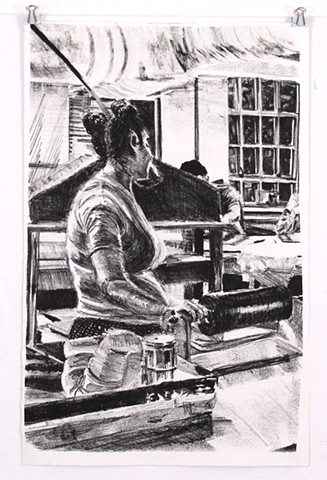 """Ivy at the Press"". Lithograph print 2013. 3/6 15¾"" x 10¼"" by Catherine Cole. Print, black and white, printmaking, litho press, press, litho roller, back turned, buns, RISD, Rhode Island School of Design, grad student, graduate student, MFA"