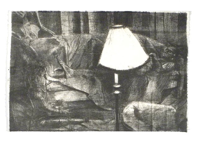 "Brendan Sleeps before Life, Light, and Death. 22.25x15"". Lithograph. 2011."