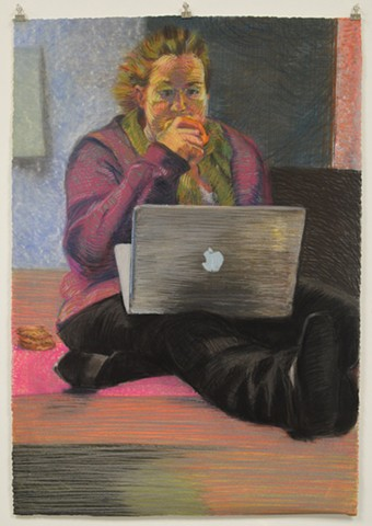 "Mindless Eating. 26.75"" x 38.5"". Pastel. May 2013. Chocolate Chip Cookies. MacBook Pro. Self Portrait"