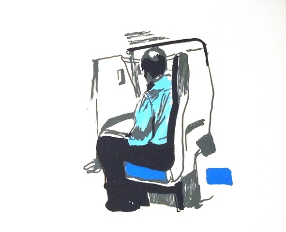 "Man on the VRE. Virginia Railway Express. 15 x 11"". Screenprint. Serigraph. July 2010."