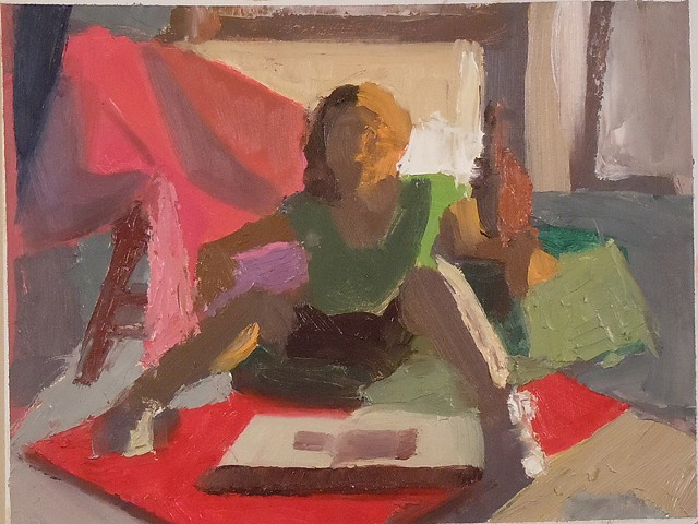 Oil Sketch. Oil on Paper. September 2010. Girl Woman Reading Sitting