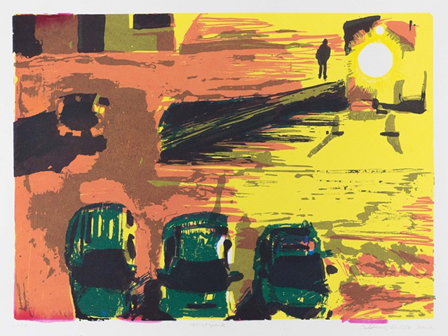 "Metropark. 22.25x15"". Screenprint. Serigraph. 2012. by Catherine Cole. Light, man, cars, car, parking lot, asphalt, shadow, yellow, orange, turquoise, violet"