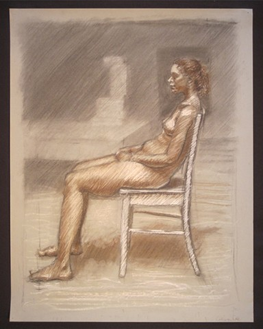"Profile of a Young Woman Sitting. 18 x 24"". Pastel, Charcoal, Conté Crayon. March 2010."