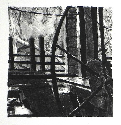 French Tool Press at Matoaka. Lithograph. 2011.