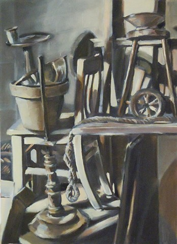 "Still Life. 21"" x 29"". Oil on Primed Paper. February 2010. First Oil Painting Ever. Junk. Chair. Rope. Lamp Pole Tire Bowl Terracotta Pot Stool"