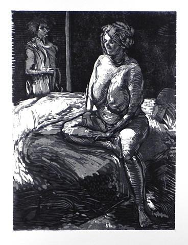 "Angie at Night. 15x22.25"". Reductive Woodcut. October 2011. by Catherine Cole. Nude female, big breasts, big boobs, bed, bedspread, chiaroscuro woodcut, relief, print, printmaking, prints, art, artist, artwork. Two figures."