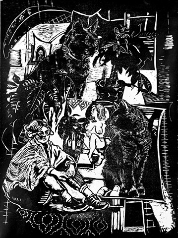 woodblock farrago females felines cats nude money trees patterns printmaking prints black and white