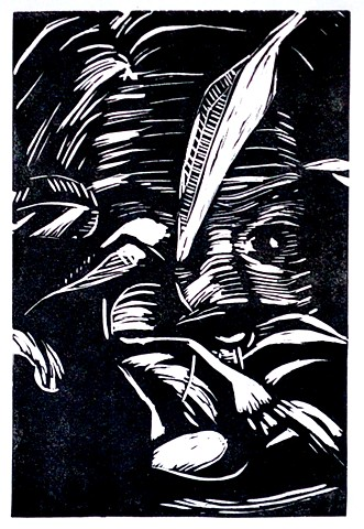 Self Portrait. Linocut. 2012. Catherine Cole. leaf, leaves, eye, nose, forehead, hair, black and white, carve, carved, relief, print, printmaking, art, artist, artwork