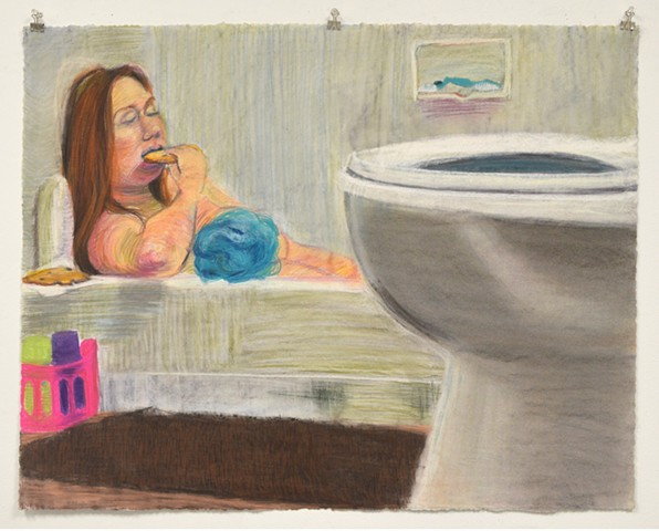 "Bath Time with Cookies. 35.25"" x 27.75"". Pastel. May 2013. Chocolate Chip Cookies. Bubble Bath. Toilet. Loofa. Self Portrait."