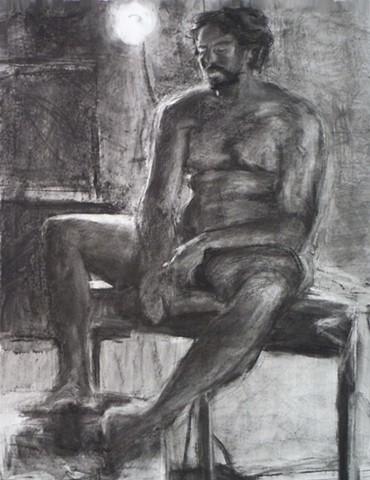 "Rob is Backlit. 22.5"" x 30"". Charcoal. April 2011. by Catherine Cole. Drawing. art, artwork, artist. Light, backlight, backlit, male, nude male, nude man, mustache,"