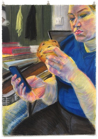"Priorities. 27"" x 37.5"". Pastel. May 2013. Chocolate Chip Cookies. Smart Phone. iPhone. MacBook Pro. Self Portrait"