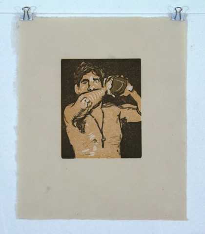 Jesse Football Reductive Linocut October 2013. by Catherine Cole. Brown, orange, yellow, football, male, male nude, shirtless male, shirtless man, cross, cross necklace, elbow, toss, throw, pose, brown hair, art, artwork, artist, print, printmaking, print