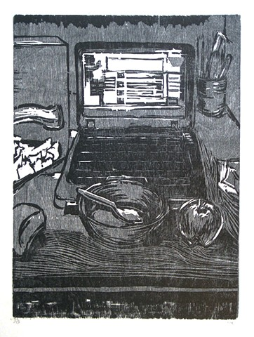 "Morning Routine: Breakfast. 15 x 22.25"". Reductive Woodcut. Relief Print. Fall November 2009."