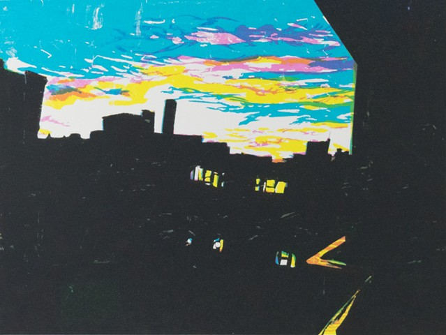 Sunset over Providence. Screenprint. Serigraph. 2012. by Catherine Cole. silhouette, sunset, clouds, urban, urban landscape, buildings, evening, night, print, printmaking, art, artist, artwork, Providence, Rhode Island, RISD, MFA