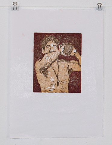 Jesse with Football Reductive Linocut Relief Print Masa Paper 2013 Red by Catherine Cole. Brown, orange, yellow, football, male, male nude, shirtless male, shirtless man, cross, cross necklace, elbow, toss, throw, pose, brown hair, art, artwork, artist, p